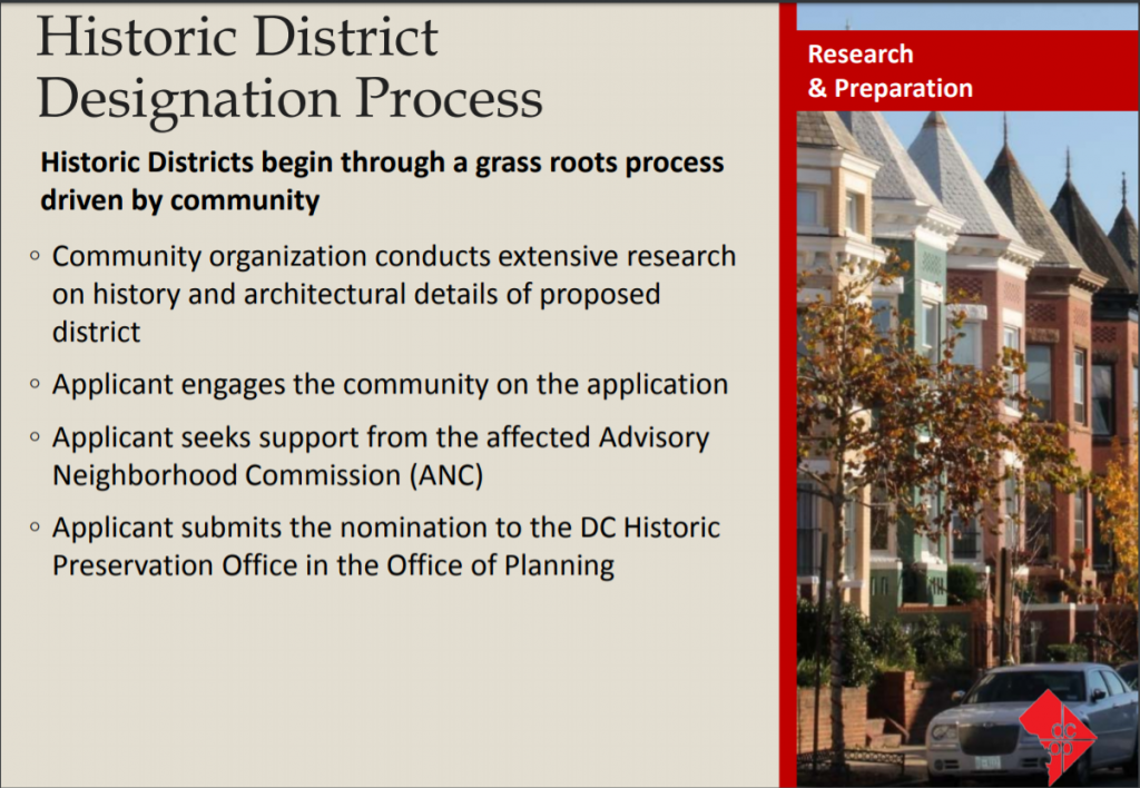 Slide from Office of Planning presentation on Kingman Park Historic District